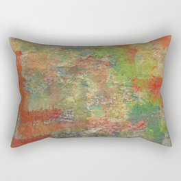 Abstract Orange and Greens on Old Concrete Rectangular Pillow