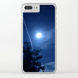Full Moon and Contrails Clear iPhone Case