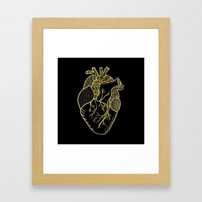 Designer Heart Gold Framed Art Print