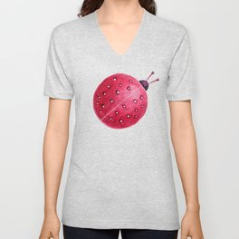 Spherical Abstract Watercolor Ladybug Unisex V-Neck