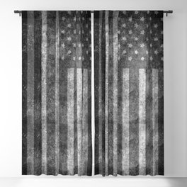 Black and White USA Flag in Grunge Blackout Curtain