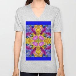 Contemporary  Pink, Blue, Purple Color Floral Unisex V-Neck