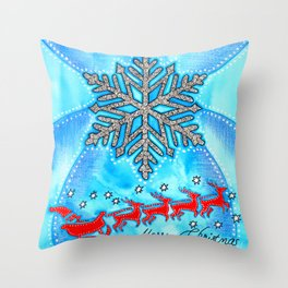 Watercolor Doodle Art | The Snowflake Throw Pillow