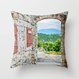 Town of Hum stone gate and street view Throw Pillow