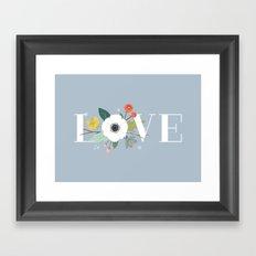 Floral Love - in Dusty Blue Framed Art Print