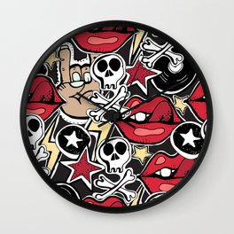 Seamles pattern. Crazy punk rock abstract background. Skulls, guitars, rock symbols. Wall Clock