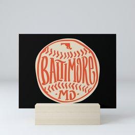 Hand Drawn Baseball for Baltimore with custom Lettering Mini Art Print