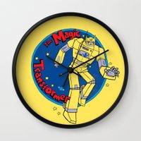 transformer Wall Clocks featuring The Magic Transformer by Skylar Hogan