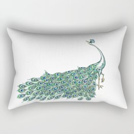 My Peacock Art in Teals and Blues Rectangular Pillow