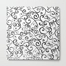 Black and White Swirls Metal Print