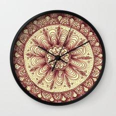mandala: maroon Wall Clock