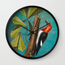 Red Headed Woodpecker with Oak, Natural History and Botanical collage Wall Clock