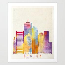 Boston landmarks watercolor poster Art Print
