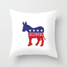 Minnesota Democrat Donkey Throw Pillow