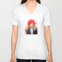 garrus V-neck T-shirts featuring Mass Effect - Shepard with Garrus Doll by Choco-Minto