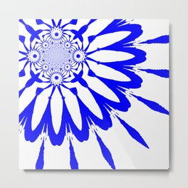 The Modern Flower White & Royal Blue Metal Print