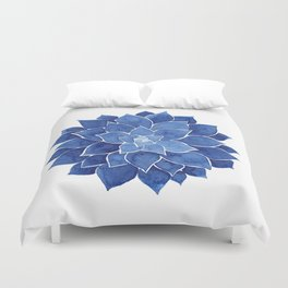 Indigo Succulent |  Watercolor Painting Duvet Cover