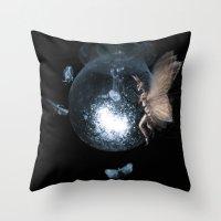 moth Throw Pillows featuring Moth by Ink Bird Art