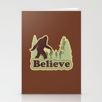 bigfoot Stationery Cards featuring Bigfoot Believe by Heather Green