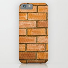 Background of red brick wall pattern texture. Great for graffiti inscriptions. iPhone Case