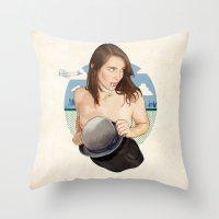 north carolina Throw Pillows featuring Miss North Carolina by keith p. rein