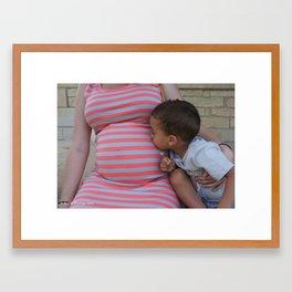 Kissing Baby Sis Framed Art Print