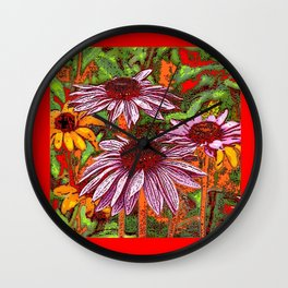 COLORFUL ECHINACEA IN INK RED FLORAL GARDEN Wall Clock
