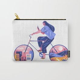 girl and bike Carry-All Pouch