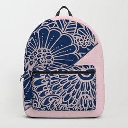 Blush pink navy blue hand drawn modern floral Backpack