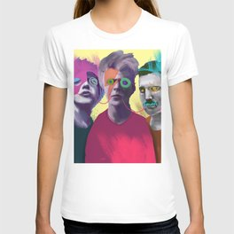 Jagger, Bowie and Mercury, POP art style, digitally painted and collaged T-shirt