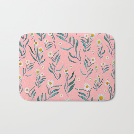 Pink white leaves Bath Mat