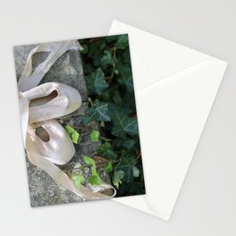 Pink Ballet Pointe Shoes on Limestone Wall with Ivy Vines 2 Stationery Cards