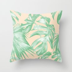 Tropical Leaves Palm Green on Citrus Throw Pillow