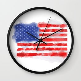 Watercolor American Flag for Veterans and Patriots Wall Clock