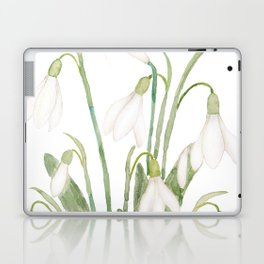 white snowdrop flower watercolor Laptop & iPad Skin