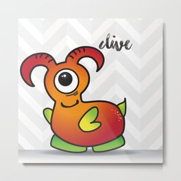 The Friendly Monster Project: Clive Metal Print