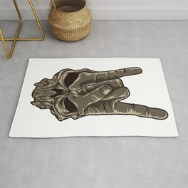 Devil Horns Sign | Heavy Metal Hand Gesture Music Rug