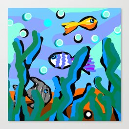 Swimming Fishes - Blue Canvas Print