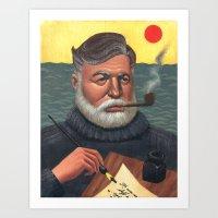 hemingway Art Prints featuring Hemingway by Houston Trueblood