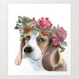 Dog with flower crown Art Print