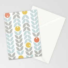 Mid Century Modern Retro Leaf and Circle Pattern Stationery Cards