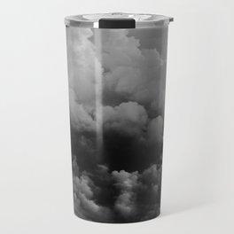 White fluffy Clouds Black And White photo Travel Mug