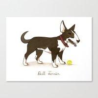 bull terrier Canvas Prints featuring Bull Terrier by Monica McClain