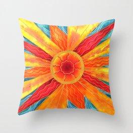 Summer Sunburst Throw Pillow