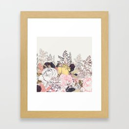 Miles and miles of rose garden. Retro floral pattern in vintag style Framed Art Print