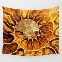 minerals Wall Tapestries featuring AMAZING AMMONITE by Catspaws