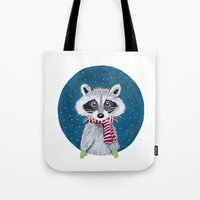 racoon Tote Bags featuring Racoon by Sophie Pittaway