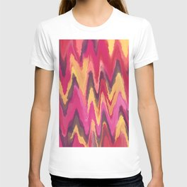 Abstract modern pink yellow brown ikat pattern T-shirt