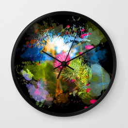 Vibrant painted thistle on black Wall Clock
