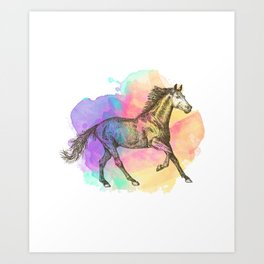 Colorful Horse Gift Horse Lovers Racing Riding Art Print